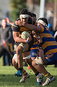 Tulele Masoe tries to break past John Tangi. Counties Manukau Premier Club Rugby game between Patumahoe & Bombay, played at Patumahoe on Saturday June 18th 2016. Patumahoe won the game 27 - 15 after leading 9 - 3 at halftime. Photo by Richard Spranger.
