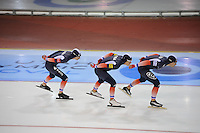SCHAATSEN: SALT LAKE CITY: Utah Olympic Oval, 16-11-2013, Essent ISU World Cup, Team Pursuit, Alexis Contin, Ewen Fernandez, Benjamin Macé (FRA), ©foto Martin de Jong