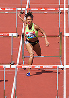 Queen Claye (United States) hits a hurdle while competing in the women's 100m hurdles during the IAAF Diamond League Athletics Müller Grand Prix Birmingham at Alexander Stadium, Walsall Road, Birmingham on 18 August 2019. Photo by Alan  Stanford.