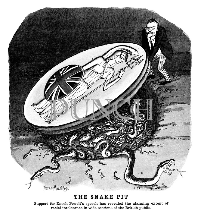 The Snake Pit. Support for Enoch Powell's speech has revealed the alarming extent of racial intolerance in wide sections of the British public. (cartoon showing Enoch Powell removing a lid - the shield of Britannia - with snakes emerging from the ground)