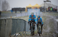 Sven Nys (BEL) followed by Rob Peeters (BEL) during course recon &amp; training<br /> <br /> 2015 UCI World Championships Cyclocross <br /> Tabor, Czech Republic