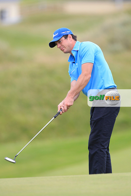 Colin Fairweather (Knock) on the 15th green during Matchplay Round 4 of the South of Ireland Amateur Open Championship at LaHinch Golf Club on Saturday 25th July 2015.<br /> Picture:  Golffile | TJ Caffrey