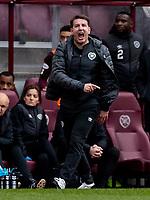 26th December 2019; Tynecastle Park, Edinburgh, Scotland; Scottish Premiership Football, Heart of Midlothian versus Hibernian FC; Daniel Stendel manager of Hearts gets animated on the touchline  - Editorial Use