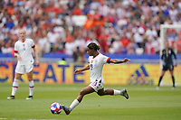 LYON, FRANCE - JULY 07: Crystal Dunn #19 during the 2019 FIFA Women's World Cup France final match between the Netherlands and the United States at Stade de Lyon on July 07, 2019 in Lyon, France.