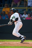 Clinton LumberKings second baseman Martin Peguero (7) at bat during a game against the Great Lakes Loons on August 16, 2015 at Ashford University Field in Clinton, Iowa.  Great Lakes defeated Clinton 3-2.  (Mike Janes/Four Seam Images)