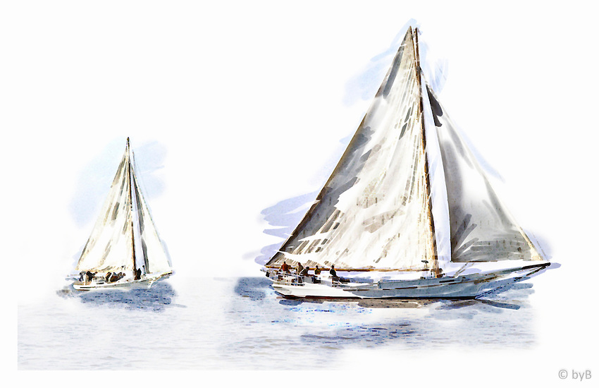 Ghosting Home ~ A watercolor treatment from the Limited Edition &quot;Skipjack Sunday&quot; collection.<br />