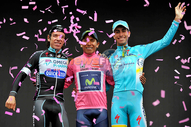 Nairo Quintana (COL) Movistar Team wins overall, with Rigoberto Uran Uran (COL) Omega Pharma-Quick Step in 2nd place and Fabio Aru (ITA) Astana Pro Team in 3rd, at the end of the final Stage 21 of the 2014 Giro d&rsquo;Italia 172km running from Gemona del Friuli to Trieste, Italy. 1st June 2014.<br /> Picture: Marco Alpozzi/LaPresse/www.newsfile.ie