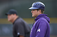 High Point Panthers volunteer assistant coach Patrick Long coaches first base during the game against the North Carolina Central Eagles at Williard Stadium on February 28, 2017 in High Point, North Carolina. The Eagles defeated the Panthers 11-5. (Brian Westerholt/Four Seam Images)