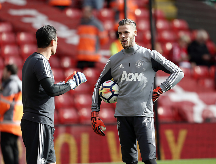 Manchester United's David De Gea during the pre-match warm-up <br /> <br /> Photographer Rich Linley/CameraSport<br /> <br /> The Premier League - Liverpool v Manchester United - Saturday 14th October 2017 - Anfield - Liverpool<br /> <br /> World Copyright &copy; 2017 CameraSport. All rights reserved. 43 Linden Ave. Countesthorpe. Leicester. England. LE8 5PG - Tel: +44 (0) 116 277 4147 - admin@camerasport.com - www.camerasport.com