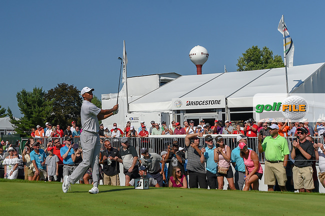 Tiger Woods (USA) watches his tee shot on 17 during 3rd round of the World Golf Championships - Bridgestone Invitational, at the Firestone Country Club, Akron, Ohio. 8/4/2018.<br /> Picture: Golffile | Ken Murray<br /> <br /> <br /> All photo usage must carry mandatory copyright credit (© Golffile | Ken Murray)