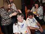 Matthew Doggett and Mark Shields has their heads shaved by Shauna McDonnell and maria galligan to raise funds for the Gary Kelly Cancer Support Centre in the Boyne Valley Inn Slane. Photo:Colin Bell/pressphotos.ie