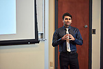 """Ali Rafiei Miandashti, a Chemistry Doctoral Student from the College of Arts and Sciences presents his thesis entitled """"Small Gold Structures for Treatment of Cancer""""."""