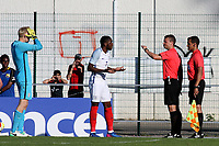 Ryan Schofield and Japhet Tanganga of England show their frustration as the referee consults his assistant referee and awards a last minute penalty to Ivory Coast during England Under-18 vs Ivory Coast Under-20, Toulon Tournament Final Football at Stade de Lattre-de-Tassigny on 10th June 2017