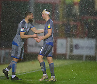 Lincoln City's Michael Bostwick, left, replaces Tom Hopper<br /> <br /> Photographer Andrew Vaughan/CameraSport<br /> <br /> The EFL Sky Bet League One - Accrington Stanley v Lincoln City - Saturday 15th February 2020 - Crown Ground - Accrington<br /> <br /> World Copyright © 2020 CameraSport. All rights reserved. 43 Linden Ave. Countesthorpe. Leicester. England. LE8 5PG - Tel: +44 (0) 116 277 4147 - admin@camerasport.com - www.camerasport.com