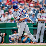 1 August 2018: New York Mets catcher Devin Mesoraco at bat against the Washington Nationals at Nationals Park in Washington, DC. The Nationals defeated the Mets 5-3 to sweep the 2-game weekday series. Mandatory Credit: Ed Wolfstein Photo *** RAW (NEF) Image File Available ***