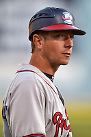 Rome Braves manager Jonathan Schuerholz #2 during a game against the Asheville Tourists at McCormick Field on May 1, 2014 in Asheville, North Carolina. The Tourists defeated the Braves 8-7. (Tony Farlow/Four Seam Images)