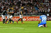 BARRANQUILLA - COLOMBIA, 06-03-2019: Los jugadores Palmeiras (BRA), celebran la victoria sobre Atlético Junior (COL) al final del partido entre Atlético Junior (COL) y Palmeiras (BRA) de la fase de grupos, grupo F, fecha 1, por la Copa Conmebol Libertadores 2019, jugado en el estadio Metropolitano Roberto Meléndez de la ciudad de Barranquilla. / The players of Palmeiras (BRA), celebrate the victory over Atletico Junior (COL) at the end of the match between Atletico Junior (COL) and Palmeiras (BRA) of the group stage, group F, 1st date for the Copa Conmebol Libertadores 2019 at the Metropolitano Roberto Melendez Stadium in Barranquilla city. Photo: VizzorImage / Alfonso Cervantes / Cont.