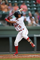 Center fielder Lorenzo Cedrola (5) of the Greenville Drive bats in a game against the Rome Braves on Wednesday, May 31, 2017, at Fluor Field at the West End in Greenville, South Carolina. Greenville won, 7-1. (Tom Priddy/Four Seam Images)