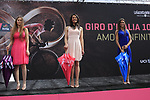 Giro Jersey girls at sign on before Stage 2 of the 100th edition of the Giro d'Italia 2017, running 221km from Olbia to Tortoli, Sardinia, Italy. 6th May 2017.<br /> Picture: Eoin Clarke | Cyclefile<br /> <br /> <br /> All photos usage must carry mandatory copyright credit (&copy; Cyclefile | Eoin Clarke)