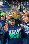 A Seattle Seahawks fan cheers for the Seahawks during the NFC Championship game against  the Green Bay Packers at CenturyLink Field in Seattle, Washington on January 18, 2015.  The Seattle Seahawks beat the Green Bay Packers in overtime 28-22 for the NFC Championship Seattle  ©2015. Photo by Jim Bryant. All Rights Reserved.