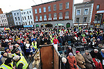 Protesters against the closure of the Cottage Hospital gathered on West street. Photo: Colin Bell/pressphotos.ie
