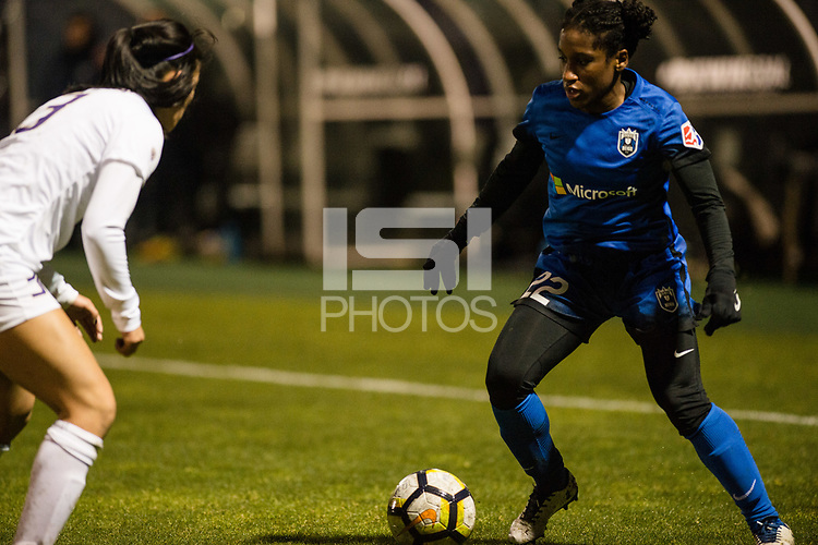 Seattle, WA - Thursday, March, 08, 2018: Jasmyne Spencer during a preseason match between the Seattle Reign FC and University of Washington at Husky Soccer Stadium.