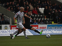Beram Kayal tries to intercept the Jim Goodwin pass in the St Mirren v Celtic Clydesdale Bank Scottish Premier League match played at St Mirren Park, Paisley on 20.10.12.