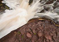 A small un-named waterfalls flows none the less beautifully just before a much larger falls; Manido, downstream.  Presque Isle River, Porcupine Mountains Wilderness State Park