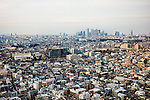 Tokyo, February 5 2012 - View from above of low-rise buildings of the Setagaya ward area and skycrapers of the Shinjuku area.
