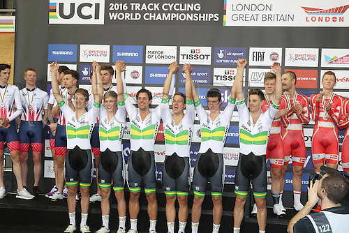 03.03.2016. Lee Valley Velo Centre, London England. UCI Track Cycling World Championships Mens Team Pursuit final.  Team Australia on podium as gold winners flanked by GBR and Denmark teams. WELSFORD Sam - HEPBURN Michael - SCOTSON Callum - SCOTSON Miles