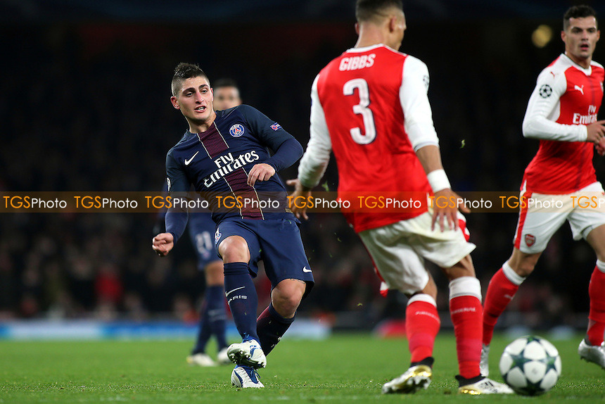 Marco Verratti of PSG threads the ball through the Arsenal defence during Arsenal vs Paris St Germain, UEFA Champions League Football at the Emirates Stadium on 23rd November 2016