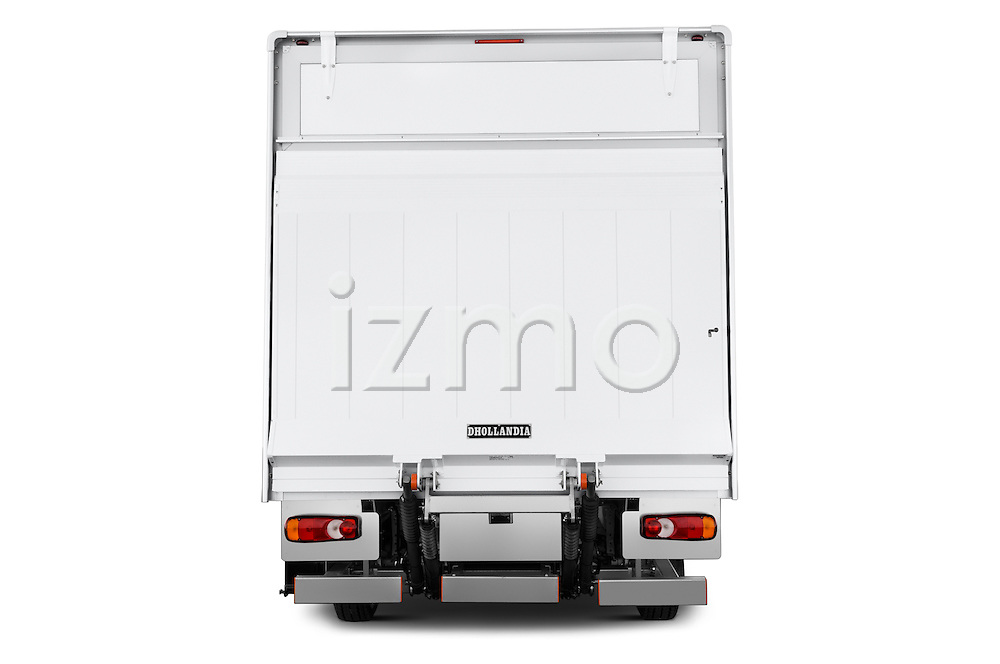 Straight rear view of 2017 Peugeot Boxer 410 4 Door Parcel Van Rear View  stock images