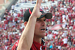 Jim Harbaugh, Stanford Cardinal head coach, directs his team from the sidelines during Stanford's Pac-10 conference football game against Washington State at Martin Stadium in Pullman, Washington, on September 5, 2009.  The Cardinal prevailed over the Cougars, 39-13.