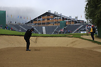Scott Hend (AUS) in a fairway bunker for his 2nd shot on the 18th hole during Sunday's fog delayed Round 3 of the 2017 Omega European Masters held at Golf Club Crans-Sur-Sierre, Crans Montana, Switzerland. 10th September 2017.<br /> Picture: Eoin Clarke | Golffile<br /> <br /> <br /> All photos usage must carry mandatory copyright credit (&copy; Golffile | Eoin Clarke)