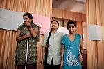 INDIA, KERALA JUNE 2014:<br />From left to right Sarita Lamichhane, Nepal, Yamin Ohmar, Myanmar, Gargi Nepal, Nepal Blind students of Kanthari presenting their project on green enviroment June 2014 @Giulio Di Sturco