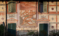 Detail of fresco, 16th century, on the facade of Casa Mazzanti, Piazza delle Erbe, Verona, Italy. The Piazza delle Erbe (Square of Herbs) stands on the old Roman Forum, and remains the centre of city life. Picture by Manuel Cohen.