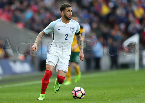 March 26th 2017, Wembley Stadium, London, England; World Cup 2018 Qualification football, England versus Lithuania; Kyle Walker of England brings the ball forward