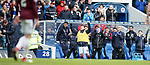22.04.2018 Rangers v Hearts: Andy Halliday celebrates in the dugout as Daniel Candeias scores