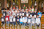 CLASS; The confirmation Classes of CBS Clounalour, Tralee who who were presented with their pioneer pins and certificates aafter 11-00 mass in St John's Church, Tralee  on Sunday morning by Fr Sean Hanafin. ..