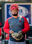 29 February 2020: Washington Nationals catcher Raudy Read in the dugout during a Spring Training game against the St. Louis Cardinals at Roger Dean Stadium in Jupiter, Florida. The Cardinals defeated the Nationals 6-3 in Grapefruit League play. Mandatory Credit: Ed Wolfstein Photo *** RAW (NEF) Image File Available ***