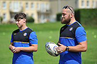 Tom Dunn of Bath Rugby runs the passing clinic. Bath Rugby Family Festival of Rugby, on August 8, 2015 at the Recreation Ground in Bath, England. Photo by: Patrick Khachfe / Onside Images