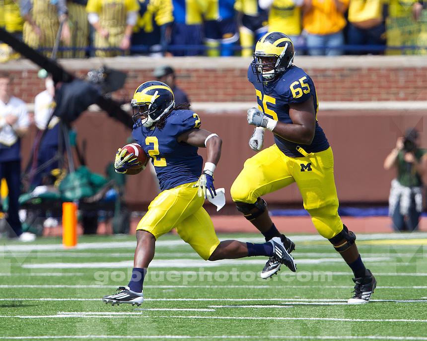 The University of Michigan football team beat San Diego State University 28-7 at Michigan Stadium in Ann Arbor, Mich., on September 24, 2011..