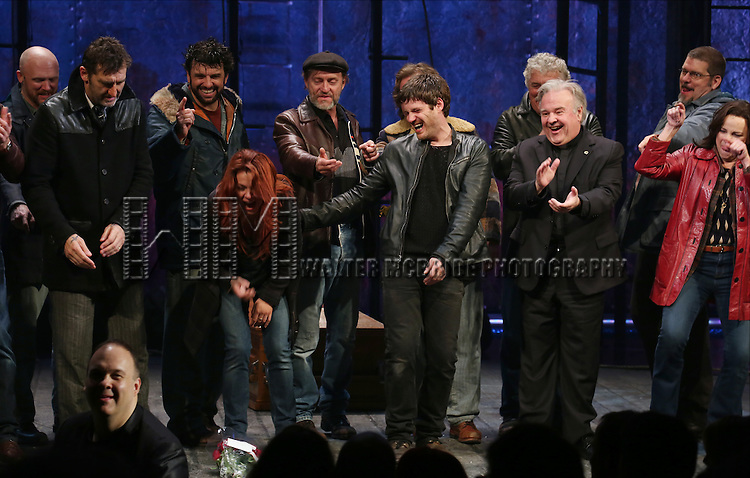 Jimmy Nail, Rachel Tucker, Michael Esper, Fred Applegate, Sally Ann Triplett with cast during the Broadway Opening Night Performance Curtain Call for 'The Last Ship' at the Neil Simon Theatre on October 26, 2014 in New York City.