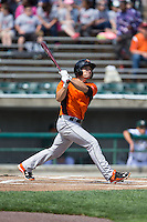 Tucker Nathans (6) of the Frederick Keys follows through on his swing against the Lynchburg Hillcats at Calvin Falwell Field at Lynchburg City Stadium on May 14, 2015 in Lynchburg, Virginia.  The Hillcats defeated the Keys 6-3.  (Brian Westerholt/Four Seam Images)