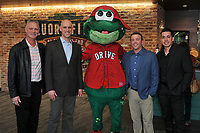 Reedy Rip'It, mascot of the Greenville Drive, poses with pitching coach Bob Kipper, left; Ben Crockett, Red Sox Vice President of Player Development; Darren Fenster, the Drive's manager from 2014-2017; and Iggy Suarez, the new Drive manager for the 2018 season during the annual Hot Stove Event to promote the upcoming 2018 baseball season on Monday, January 29, 2018, at Fluor Field at the West End in Greenville, South Carolina. (Tom Priddy/Four Seam Images)