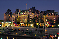The Empress Hotel and the Inner Harbor at evening,  Canada, Victoria, British Columbia