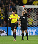 Watford's Jose Holebas gets sent off during the Carabao cup match at Vicarage Road Stadium, Watford. Picture date 22nd August 2017. Picture credit should read: David Klein/Sportimage