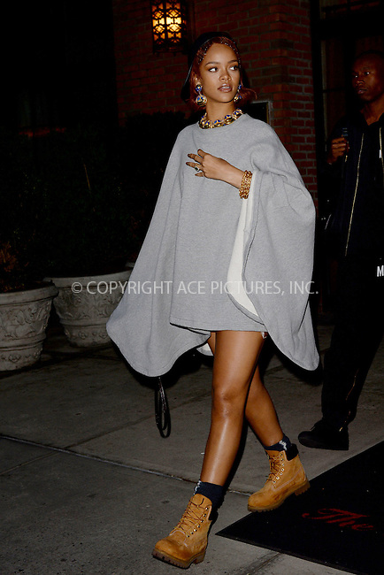WWW.ACEPIXS.COM<br /> May 6, 2015 New York City<br /> <br /> Rihanna seen leaving a downtown hotel in New York City on May 6, 2015.<br /> <br /> By Line: Kristin Callahan/ACE Pictures<br /> ACE Pictures, Inc.<br /> tel: 646 769 0430<br /> Email: info@acepixs.com<br /> www.acepixs.com