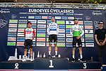 Elia Viviani (ITA) Deceuninck-Quick Step wins the Euro Eyes Cyclassics from Caleb Ewan (AUS) Lotto-Soudal and Giacomo Nizzolo (ITA) Team Dimension Data running 216.7km from Hamburg to Hamburg, Germany. 25.08.2019<br /> Picture: Mario Stiehl | Cyclefile<br /> <br /> All photos usage must carry mandatory copyright credit (© Cyclefile | Mario Stiehl)