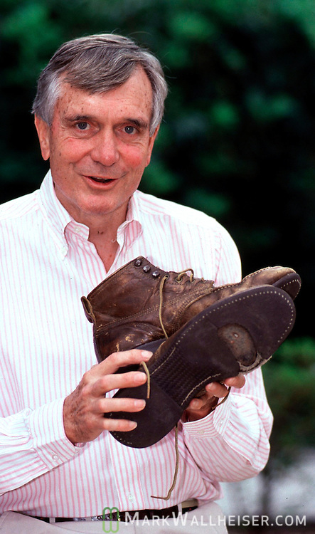 """Walking"" Lawton Chiles with the boots he used during his walks across Florida in is US Senatorial campaign.  Photo was taken during his first run for Governor for Florida on April 18, 1990."